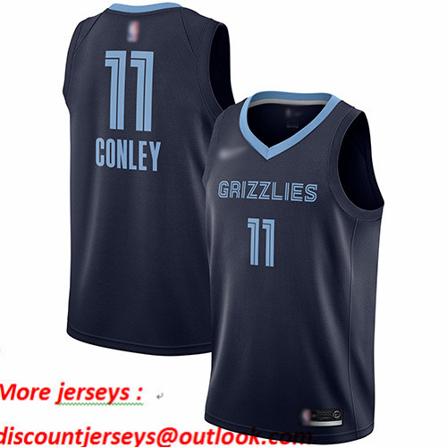 Grizzlies #11 Mike Conley Navy Blue Basketball Swingman Icon Edition Jersey
