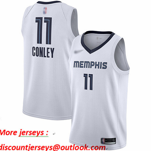 Grizzlies #11 Mike Conley White Basketball Swingman Association Edition Jersey