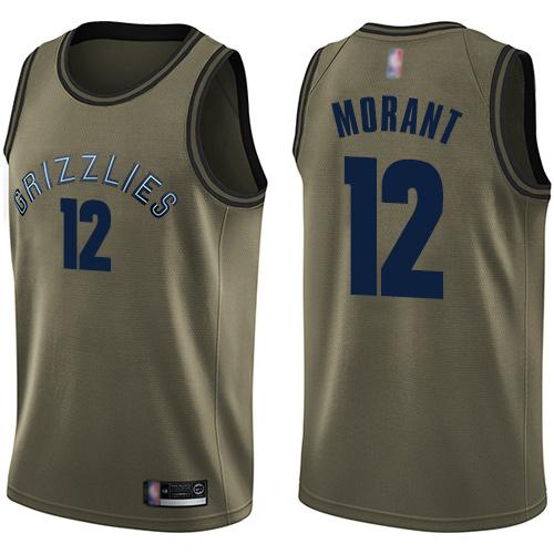 Grizzlies #12 Ja Morant Green Basketball Swingman Salute to Service Jersey