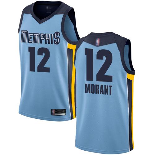 Grizzlies #12 Ja Morant Light Blue Basketball Swingman Statement Edition Jersey