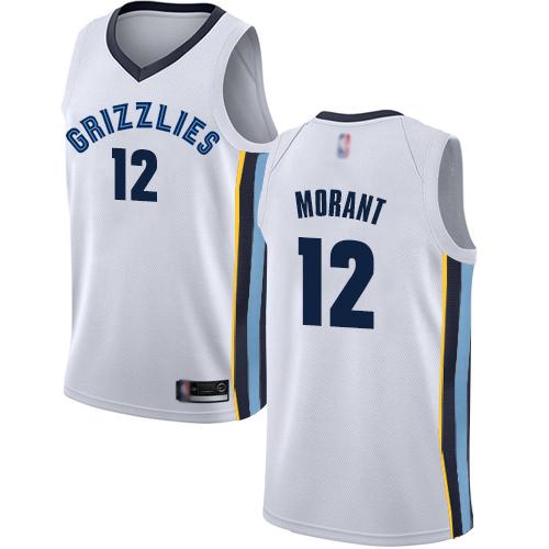 Grizzlies #12 Ja Morant White Basketball Swingman Association Edition Jersey