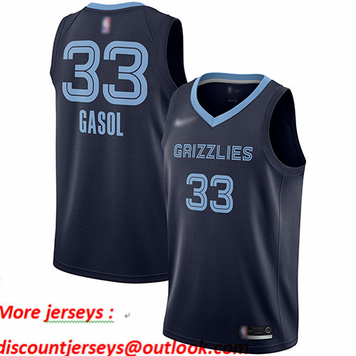 Grizzlies #33 Marc Gasol Navy Blue Basketball Swingman Icon Edition Jersey