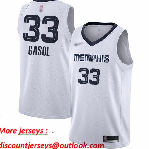 Grizzlies #33 Marc Gasol White Basketball Swingman Association Edition Jersey