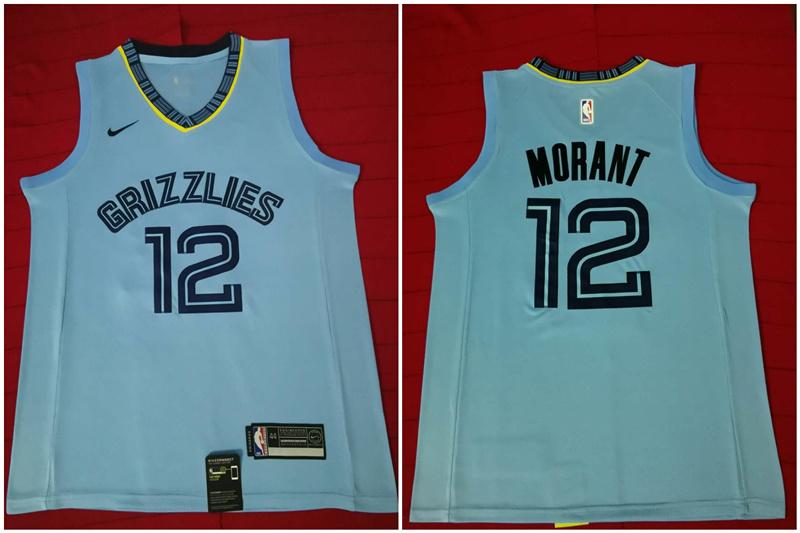 Grizzlies 12 Ja Morant Light Blue Nike Swingman Jersey