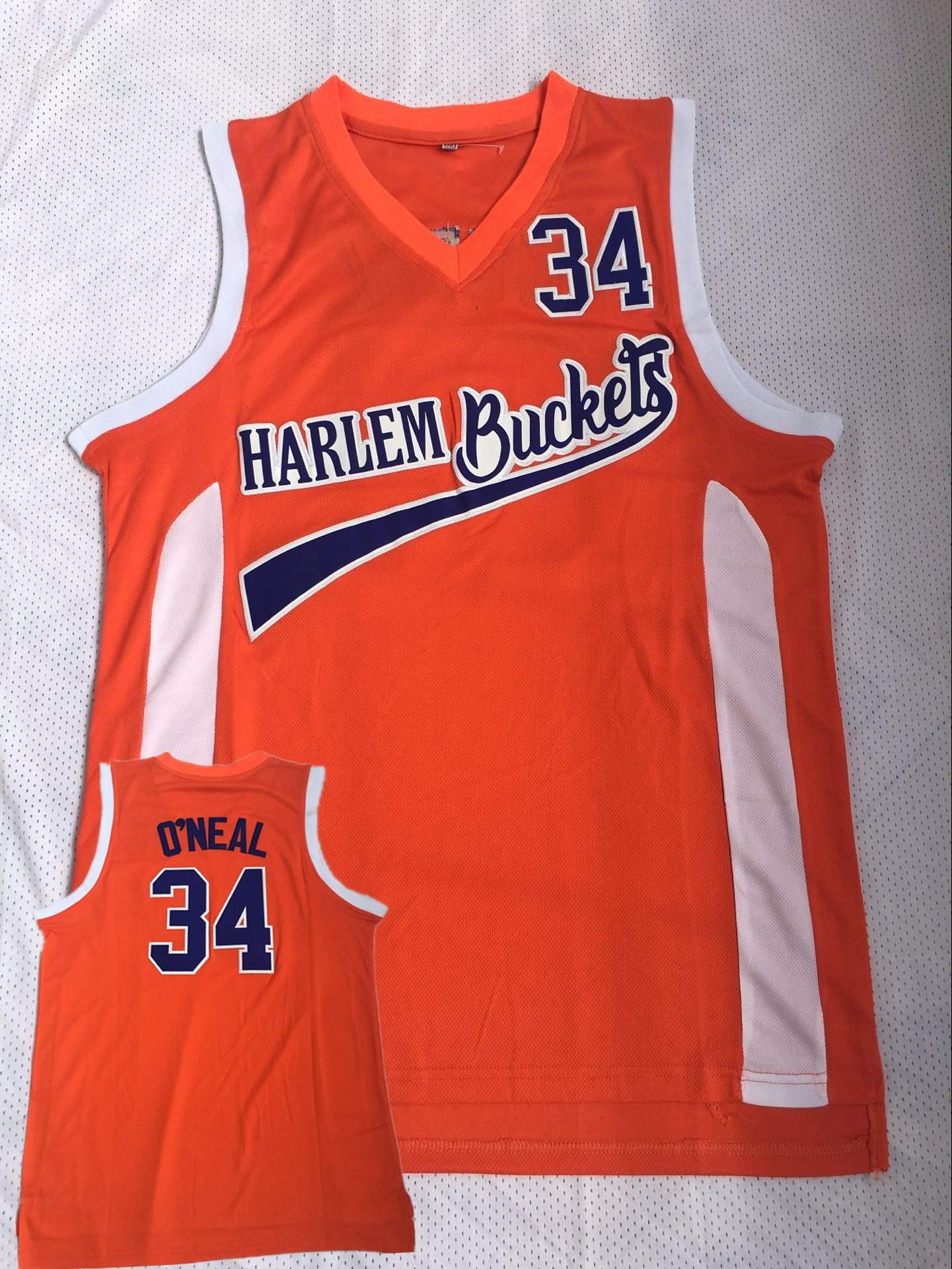 Harlem Buckets 34 O'Neal Orange Uncle Drew Movie Basketball Jersey