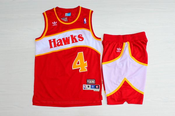 Hawks 4 Spud Webb Red Hardwood Classics Jersey(With Shorts)