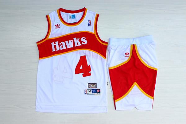 Hawks 4 Spud Webb White Hardwood Classics Jersey(With Shorts)