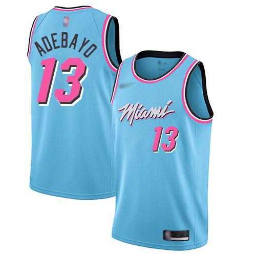 Heat #13 Bam Adebayo Blue Basketball Swingman City Edition 2019 20 Jersey