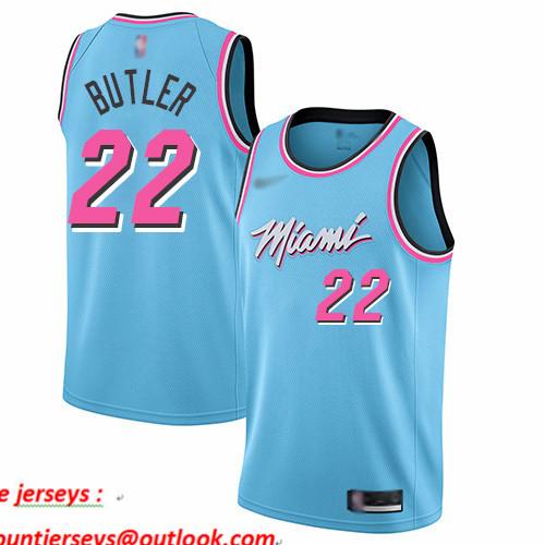 Heat #22 Jimmy Butler Blue Basketball Swingman City Edition 2019 20 Jersey