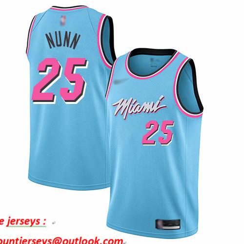 Heat #25 Kendrick Nunn Blue Basketball Swingman City Edition 2019 20 Jersey