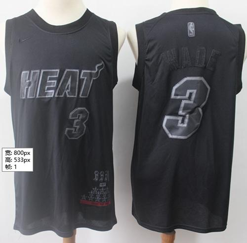 Heat #3 Dwyane Wade Black Basketball MVP Swingman Jersey