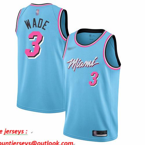 Heat #3 Dwyane Wade Blue Basketball Swingman City Edition 2019 20 Jersey
