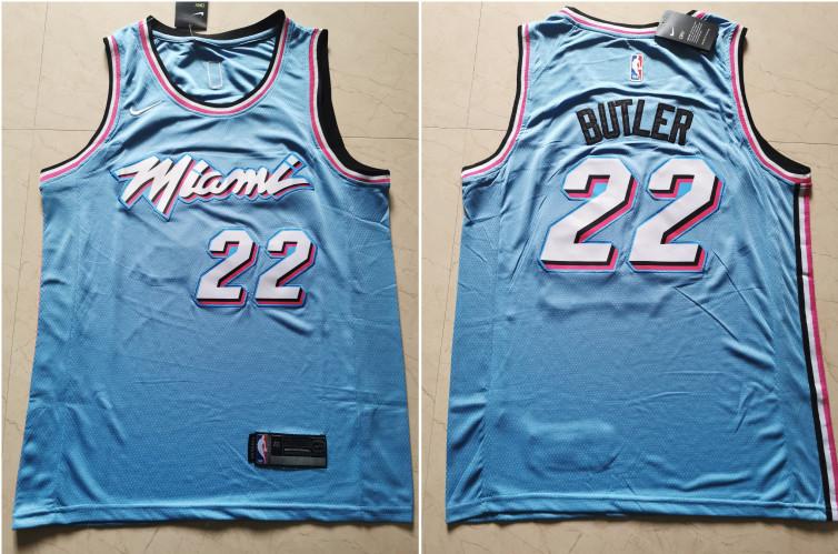 Heat 22 Jimmy Butler Light Blue Nike City Edition Swingman Jersey