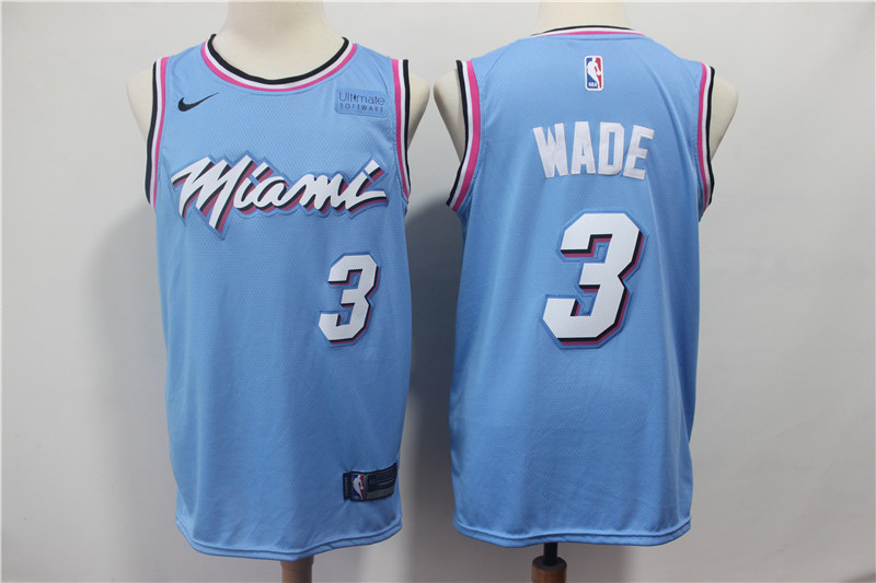 Heat 3 Dwyane Wade Light Blue Nike Swingman Jersey