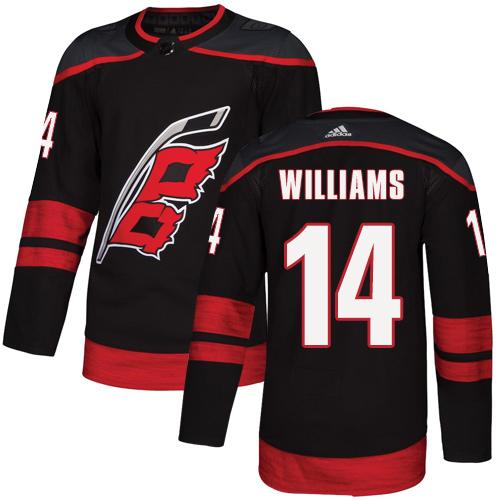 Hurricanes #14 Justin Williams Black Alternate Authentic Stitched Hockey Jersey