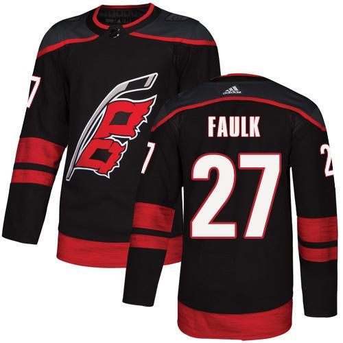 Hurricanes #27 Justin Faulk Black Alternate Authentic Stitched Hockey Jersey