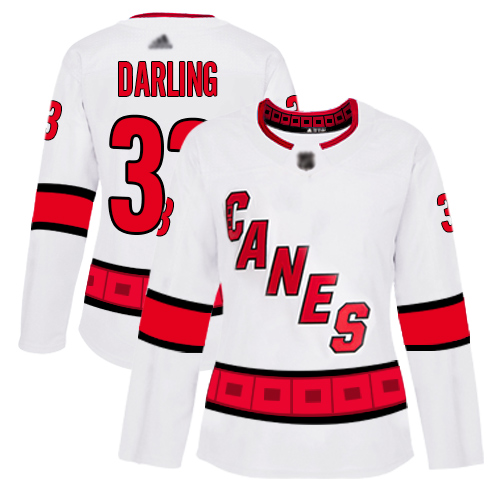Hurricanes #33 Scott Darling White Road Authentic Women's Stitched Hockey Jersey