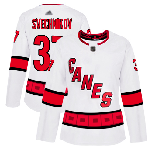 Hurricanes #37 Andrei Svechnikov White Road Authentic Women's Stitched Hockey Jersey