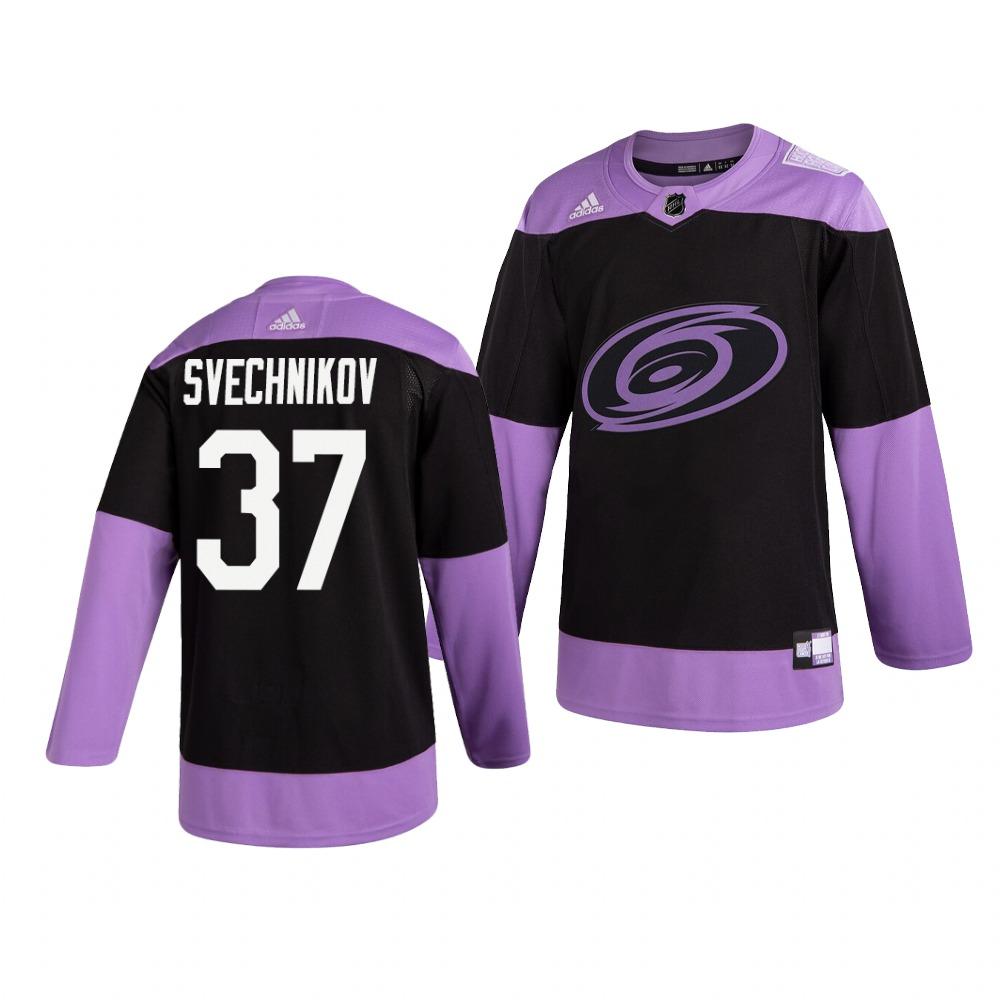 Hurricanes 37 Andrei Svechnikov Black Purple Hockey Fights Cancer Adidas Jersey