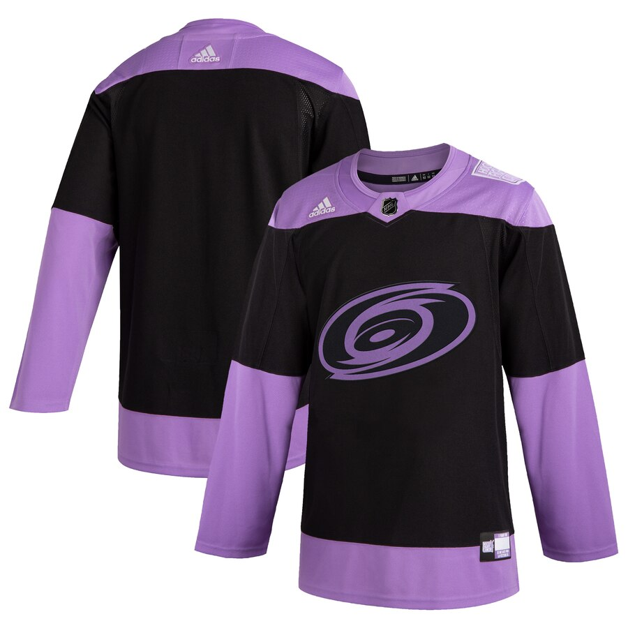 Hurricanes Blank Black Purple Hockey Fights Cancer Adidas Jersey