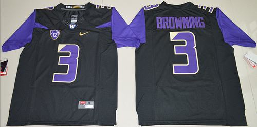 Huskies #3 Jake Browning Black Limited Stitched NCAA Jersey
