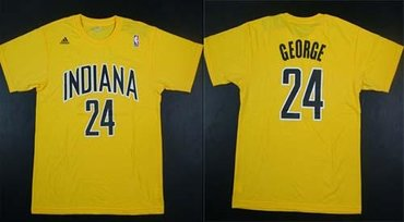 Indiana Pacers #24 George Yellow NBA T-Shirt