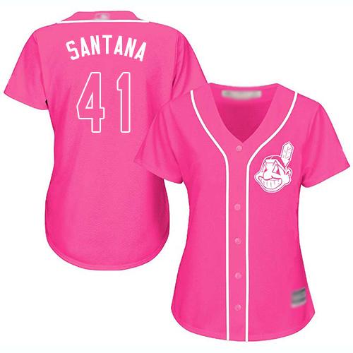 Indians #41 Carlos Santana Pink Fashion Women's Stitched Baseball Jersey