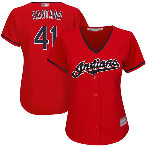 Indians #41 Carlos Santana Red Alternate Women's Stitched Baseball Jersey