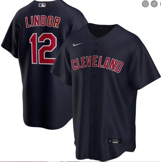 Indians 12 Francisco Lindor Black 2020 Nike Cool Base Jersey