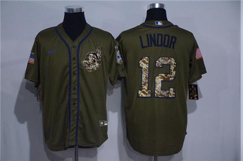 Indians 12 Francisco Lindor Olive 2020 Nike Cool Base Jersey