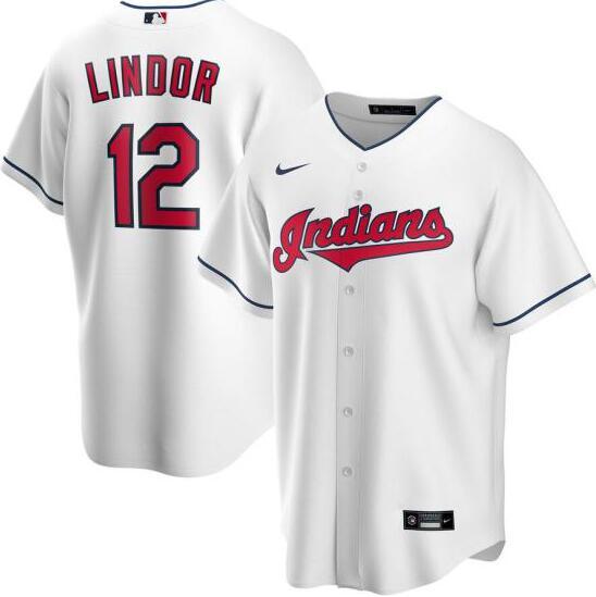 Indians 12 Francisco Lindor White 2020 Nike Cool Base Jersey