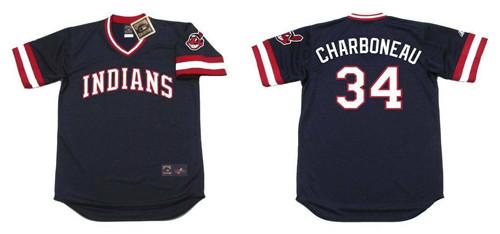 Indians 34 Joe Charboneau Black 1980'S Throwback Cool Base Jersey