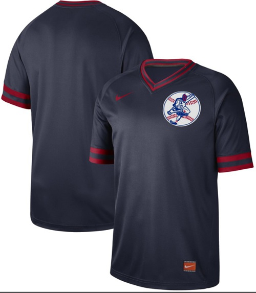 Indians Blank Navy Authentic Cooperstown Collection Stitched Baseball Jersey