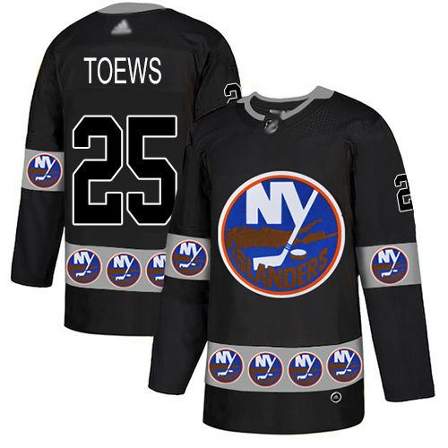 Islanders #25 Devon Toews Black Authentic Team Logo Fashion Stitched Hockey Jersey
