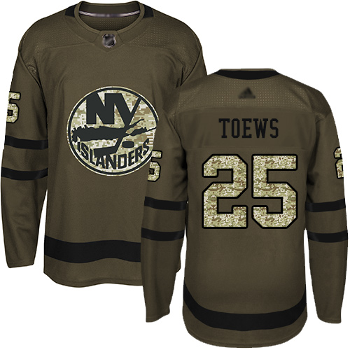 Islanders #25 Devon Toews Green Salute to Service Stitched Hockey Jersey
