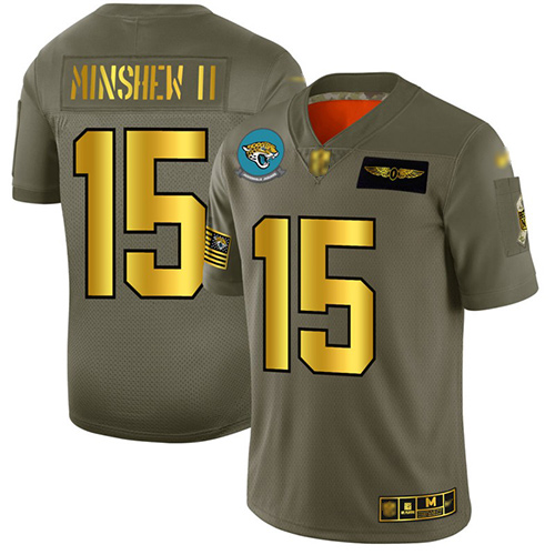 Jaguars #15 Gardner Minshew II Camo Gold Men's Stitched Football Limited 2019 Salute To Service Jersey