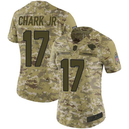 Jaguars #17 DJ Chark Jr Camo Women's Stitched Football Limited 2018 Salute to Service Jersey