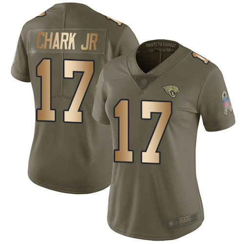 Jaguars #17 DJ Chark Jr Olive Gold Women's Stitched Football Limited 2017 Salute to Service Jersey