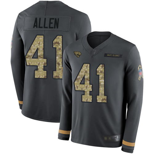 Jaguars #41 Josh Allen Anthracite Salute to Service Men's Stitched Football Limited Therma Long Sleeve Jersey