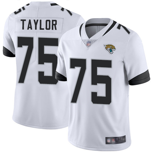 Jaguars #75 Jawaan Taylor White Men's Stitched Football Vapor Untouchable Limited Jersey