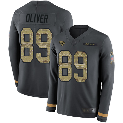 Jaguars #89 Josh Oliver Anthracite Salute to Service Men's Stitched Football Limited Therma Long Sleeve Jersey