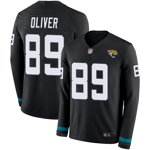Jaguars #89 Josh Oliver Black Team Color Men's Stitched Football Limited Therma Long Sleeve Jersey