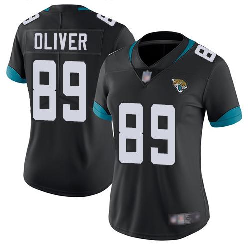 Jaguars #89 Josh Oliver Black Team Color Women's Stitched Football Vapor Untouchable Limited Jersey