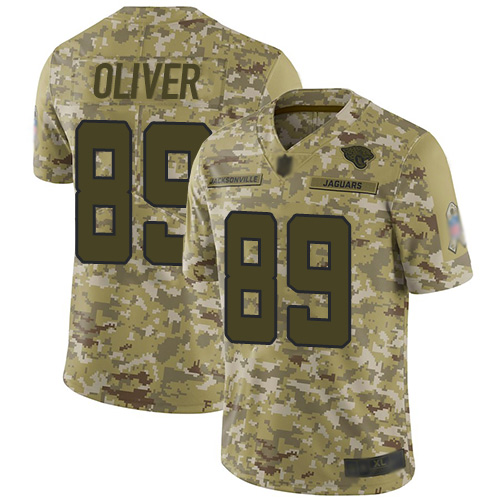 Jaguars #89 Josh Oliver Camo Men's Stitched Football Limited 2018 Salute To Service Jersey