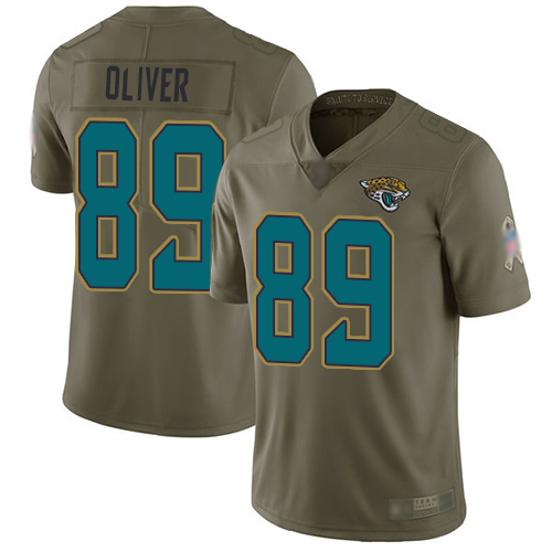 Jaguars #89 Josh Oliver Olive Men's Stitched Football Limited 2017 Salute To Service Jersey