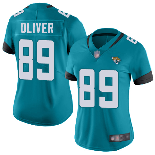 Jaguars #89 Josh Oliver Teal Green Alternate Women's Stitched Football Vapor Untouchable Limited Jersey