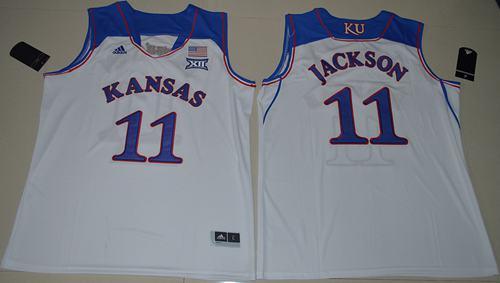 Jayhawks #11 Josh Jackson White Basketball Authentic Stitched NCAA Jersey