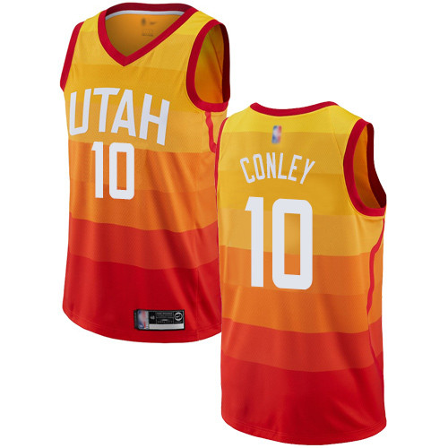 Jazz #10 Mike Conley Orange Basketball Swingman City Edition Jersey