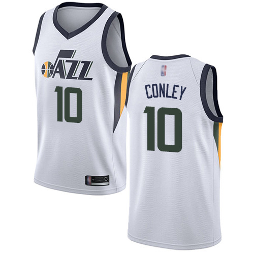 Jazz #10 Mike Conley White Basketball Swingman Association Edition Jersey