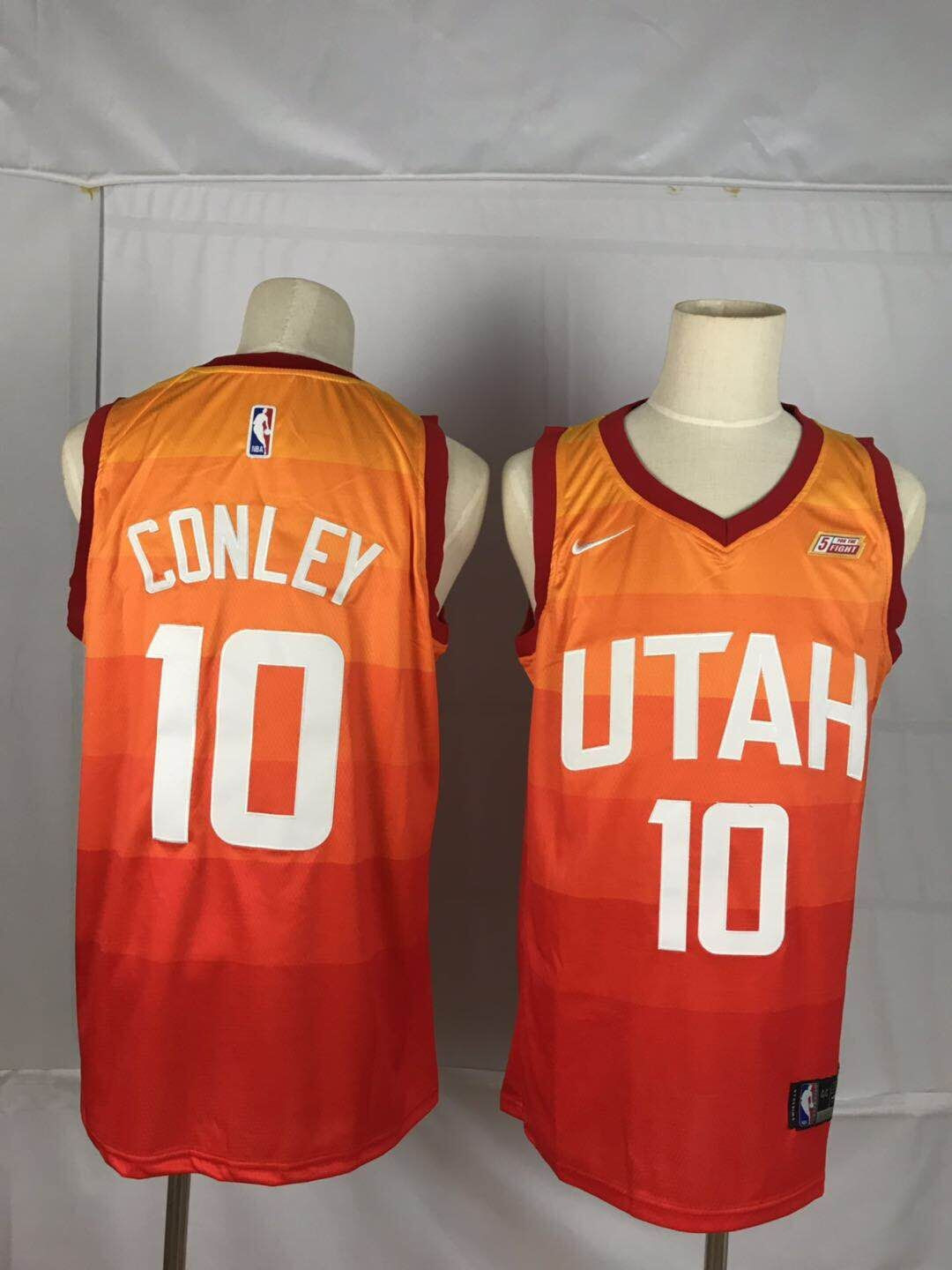 Jazz 10 Mike Conley Orange City Edition Nike Swingman Jersey